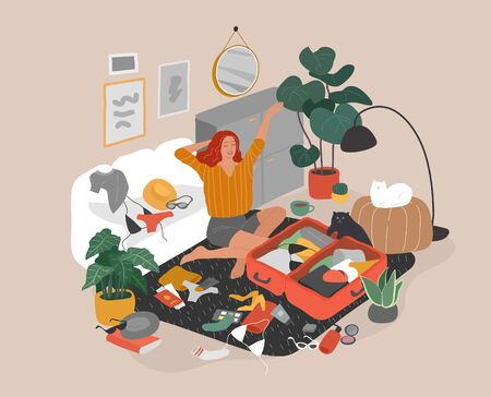 Cute girl with cat in cozy scandinavian home interior packing her suitcase and preparing for travel. Happy traveler getting ready for summer vacation. Cartoon colorful vector illustration