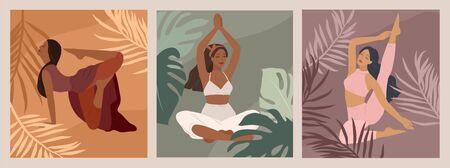 Weibliches Konzept. Nettes Mädchen, das Yoga-Posen tut. Lebensstil der jungen Frau. Modeillustration durch Weiblichkeit, Schönheit und psychische Gesundheit. Vektor-Cartoon-Illustration