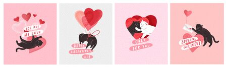Cute cats in love. Romantic Valentines Day greeting card or poster. Cat give heart, cople cats, with love envelope, hero cat with rose. Flyers, invitation, brochure. Vector cartoon design concept