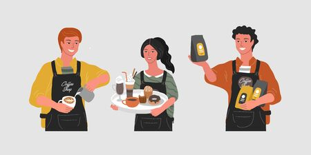 Coffee shop hand drawn character. Cartoon smiling woman waitress character hold tray with various coffee pots, man sells packaged coffee, barista make cappuccino or latte art. Vector illustration Vetores