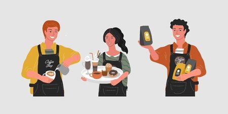 Handgezeichneter Charakter des Cafés. Cartoon lächelnde Frau Kellnerin Charakter halten Tablett mit verschiedenen Kaffeekannen, Mann verkauft verpackten Kaffee, Barista macht Cappuccino oder Latte Art. Vektor-Illustration Vektorgrafik