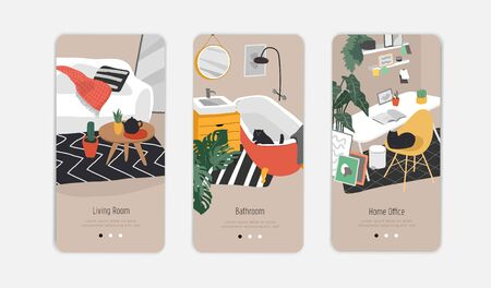 Template for interior design. Mobile App Page Onboard Screen Set. Hand drawn scandinavian cozy style bathroom, home office and living room. Nordic style interiors with homeplants Illustration