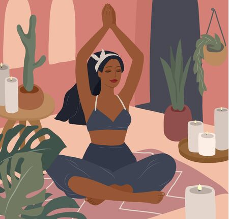 Cute girl doing yoga poses. Lifestyle by young woman in home interior with homeplants. Fashion illustration by femininity, beauty and mental health. Feminine cartoon illustration