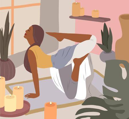 Nettes Mädchen, das Yoga-Posen tut. Lebensstil der jungen Frau im Wohninnenraum mit Zimmerpflanzen. Modeillustration durch Weiblichkeit, Schönheit und psychische Gesundheit. Weibliche Cartoon-Illustration Vektorgrafik
