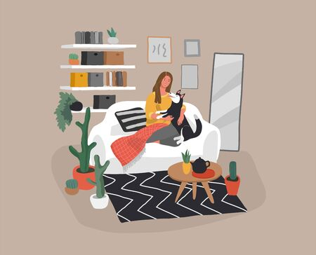 Girl sitting and resting on the couch with husky dog. Daily life and everyday routine scene by young woman, happy pet owner in scandinavian style cozy interior. Cartoon vector illustration.