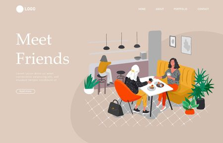 Landing page template with Girlfriends sitting in cafe or bar eating sweets, drinking coffee and talking. Daily life and everyday routine scene by young woman in scandinavian, style cozy interior. Cartoon vector illustration. Illustration
