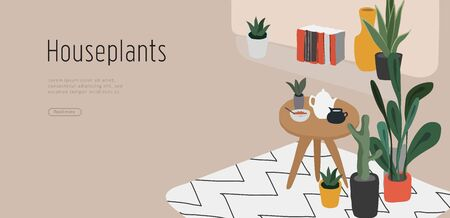 Landing page template with hand drawing Scandinavian style cozy home office with homeplants. Scandinavian or Nordic style interior. Cartoon vector illustration