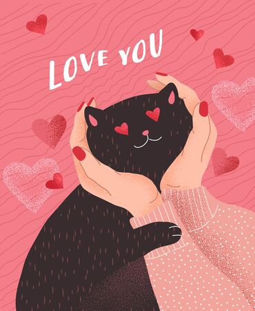 Love you. Cute cats in love. Romantic Valentines Day greeting card or poster. Female hands hold head of cat in love. Flyers, invitation, brochure. Vector cartoon design concept