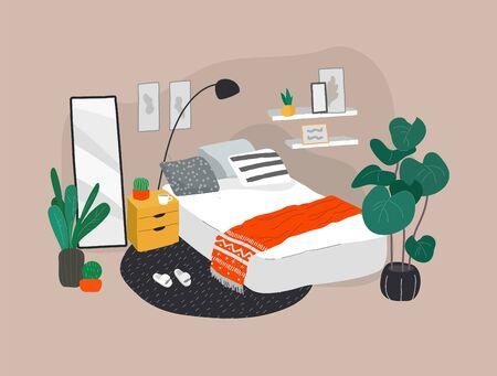 Scandinavian or Nordic style bedroom interior. Hand drawing in scandinavian, style cozy interior with homeplants. Cartoon vector