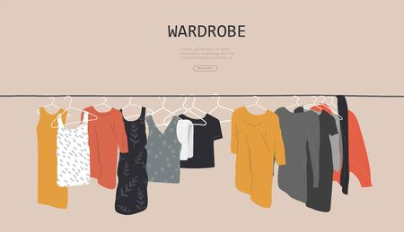 Web landing page template with wardrobe stuff. Closet wardrobe furniture inside. Various trendy clother. Hand drawn isolated elements. Cartoon vector illustration