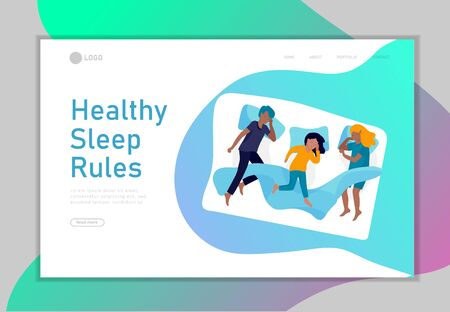 Sleeping characters children landing page template. The kids sleeps in bed in different poses, different poses during a night sleep. View from above. Colorful vector illustration.