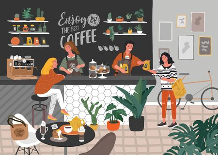 Coffee shop or cafe interior design and scene. Character of Girl barista make cappuccino art and happy cafe customer. Scandinavian style interior with houseplants and handwritten quote. Cartoon vector