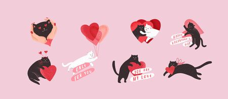 Cute cats in love set. Romantic Valentines Day set for greeting card or poster. Flying cat on balloon, special delivery, kitten in hands. Flyers, invitation, brochure. Vector design concept. Cartoon