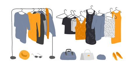 Set of wardrobe stuff. Closet wardrobe furniture inside. Various bag, shoes and trendy clother. Interior things. Hand drawn isolated elements. Cartoon vector
