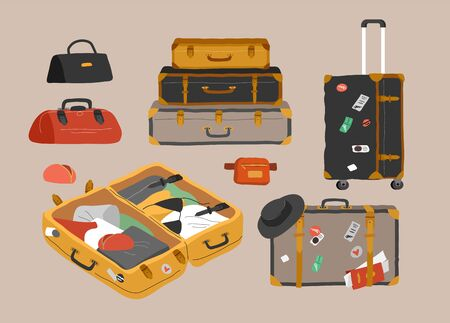 Set of various vintage, retro luggage bags, open suitcase with packed travel stuff, case, clutch and clothes. Hand drawn trendy colorful isolated design elements. Cartoon vector illustration Vectores