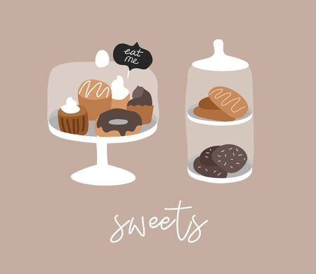 Bakery or cafe hand drawn collection . Cartoon constructor set. Dessert sweets, pancakes and cookies, donut and bread, cake in transparent glass. Vector illustration