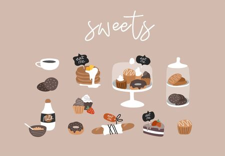 Bakery or cafe hand drawn collection . Cartoon constructor set. Dessert sweets, pancakes and cookies, donuts and bread, cake in transparent glass. Vector illustration