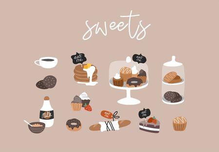 Kolekcja ręcznie rysowane piekarnia lub kawiarnia. Zestaw konstruktora kreskówka. Słodycze deserowe, naleśniki i ciasteczka, pączki i chleb, ciasto w przezroczystym szkle. Ilustracja wektorowa