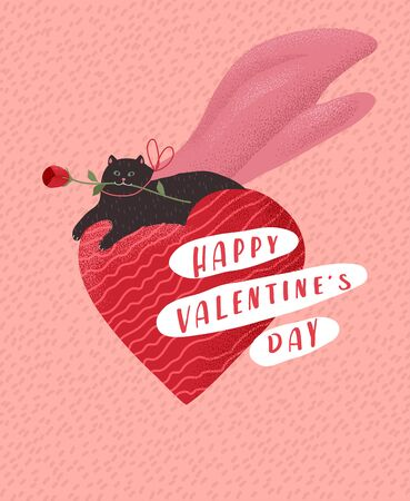 Cute cats in love. Romantic Valentines Day greeting card or poster. Hero Kitten lies on heart with rose in mouth. Flyers, invitation, brochure. Vector design concept. Cartoon Standard-Bild - 138812626