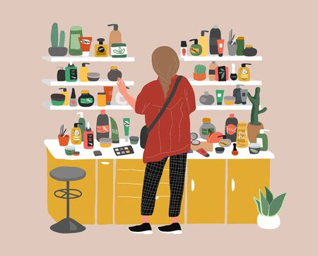 Young woman back view choosing natural cosmetics and eco products in store. Female shop assistant, cosmetic, skincare, makeup and beauty products buyer character. Cartoon vector illustration