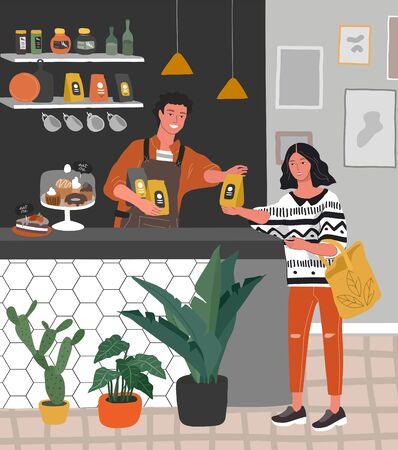 Coffee shop or cafe interior design and scene. Character barista sells packing coffee to happy cafe customer. Scandinavian style interior with houseplants and. Cartoon vector
