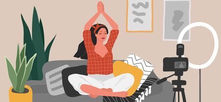 Young woman meditates, sitting in scandinavian home interior and creating content for blog or live broadcasting. Teaching yoga through internet. Blogging or blogging. Cartoon vector