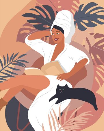 Feminine concept poster. Happy cute girls resting with cat and home plants. Feminine Daily life by young woman. Fashion illustration by female beauty and mental, femininity and feminism