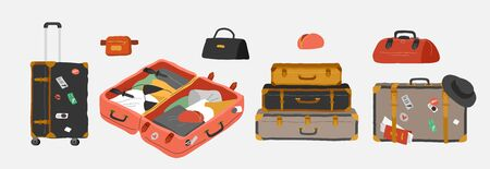 Set of various vintage, retro luggage bags, open suitcase with packed travel stuff, case, clutch and clothes. Hand drawn trendy colorful isolated design elements. Cartoon vector illustration Illustration