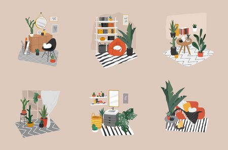 Hand drawn scandinavian cozy style bathroom, home office and living room. Nordic style interiors set with homeplants. Cartoon vector illustration