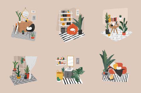 Salle de bain de style scandinave confortable dessiné à la main, bureau à domicile et salon. Intérieurs de style nordique avec plantes d'intérieur. Illustration vectorielle de dessin animé Vecteurs