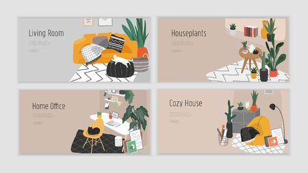 Landing page template for interior design. Hand drawn scandinavian cozy style bathroom, home office and living room. Nordic style interiors with homeplants. Cartoon vector illustration