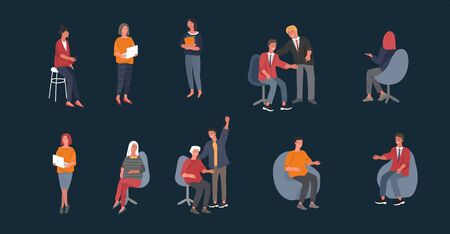 Collection of business people, male and female young office workers. Cartoon vector illustration. Иллюстрация
