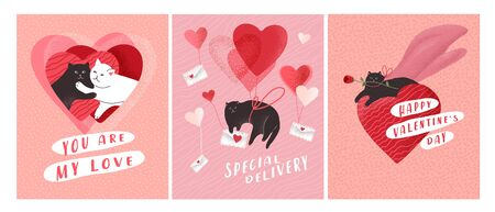 Cute cats in love set. Romantic Valentines Day greeting card or poster. Cat couple, kitten fly on balloon, hero cat with rose. Flyers, invitation, poster, brochure. Vector design concept. Cartoon