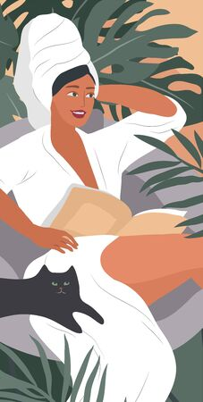 Feminine concept poster. Happy cute girls resting with cat and home plants. Feminine Daily life by young woman. Fashion illustration by female beauty and mental, femininity and feminism Vettoriali