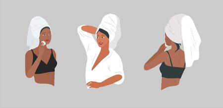 Cute girl with towel on head care for her skin after bathing, cleanses face and makeup. Feminine Daily life by young woman. Cartoon vector illustration