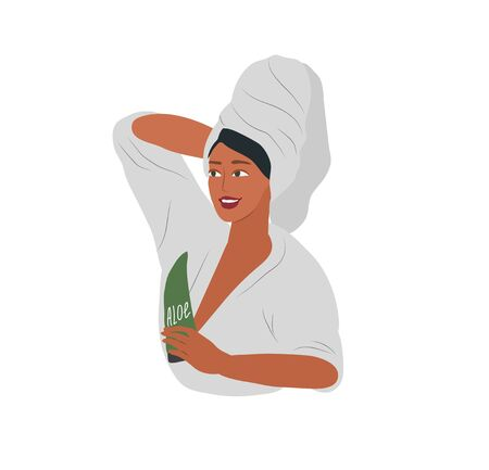 Cute girl with towel on head care for her skin after bathing, cleanses face and makeup. Feminine Daily life by young woman. Cartoon vector illustration Vektorgrafik