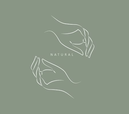 design template in trendy linear minimal style. Vector abstract hands. Abstract symbol for organic products, beauty cosmetics, jewellery and hand crafted.