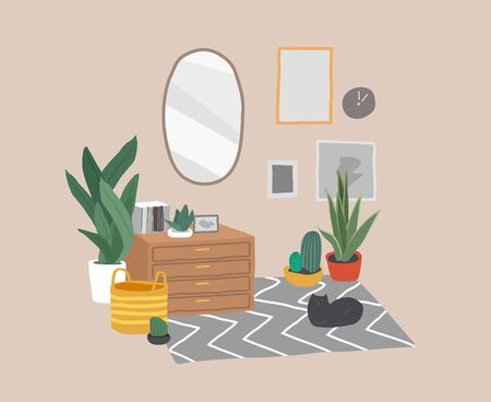 Scandinavian or Scandinavian style interior with a mirror and a cosmetic table. Cozy interior with home plants. Hand drawing cartoon vector illustration.