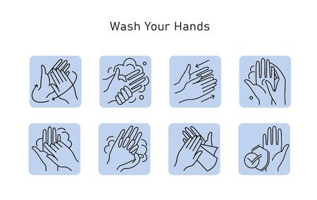 Hand hygiene line icon set. Simple Minimal Pictogram. Personal hygiene, disease prevention and healthcare hand washing.