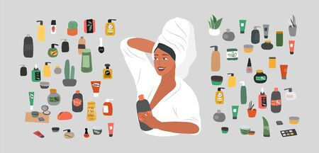 Cute girl with towel on head care for her skin after bathing, cleanses face and makeup. Natural organic cosmetics products in bottles. Skincare routine set. Cartoon vector illustration