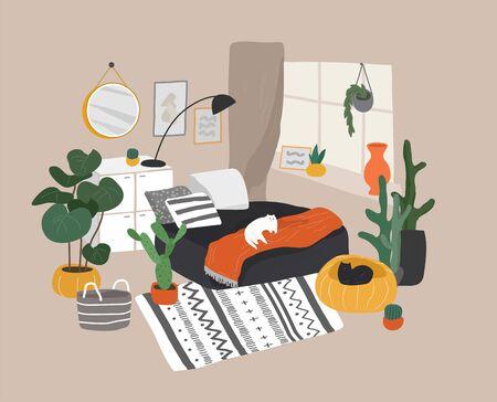 Scandinavian or Nordic style living room interior. Hand drawing Scandinavian style cozy interior with homeplants. Cartoon vector illustration.