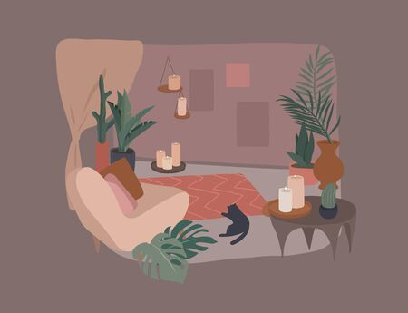 Cozy home interior with homeplants. Quiet place for yoga and relaxation. Fashion illustration by femininity, beauty and mental health. Vector cartoon illustration