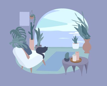 Cozy home interior with homeplants. Quiet place for yoga and relaxation. Fashion illustration by femininity, beauty and mental health. Vector cartoon illustration Vector Illustratie