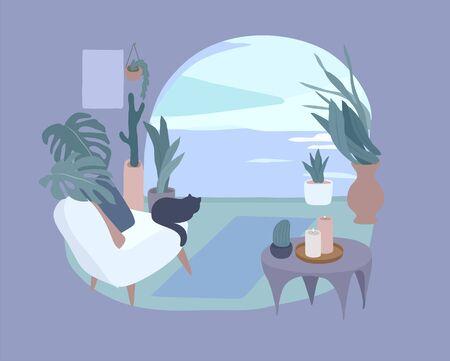 Gemütliches Interieur mit Homeplants. Ruhiger Ort für Yoga und Entspannung. Modeillustration durch Weiblichkeit, Schönheit und psychische Gesundheit. Vektor-Cartoon-Illustration Vektorgrafik