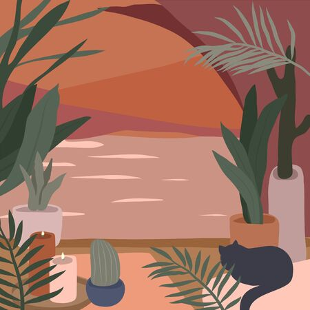 Cozy home interior with homeplants. Quiet place for yoga and relaxation. Fashion illustration by femininity, beauty and mental health. Vector cartoon illustration Vektorgrafik