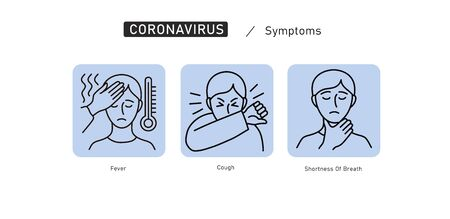 Symptoms of Coronavirus COVID-19. Vector line icon illustrations set. Safety, health, remedies and prevention of viral diseases. Isolation. Vector