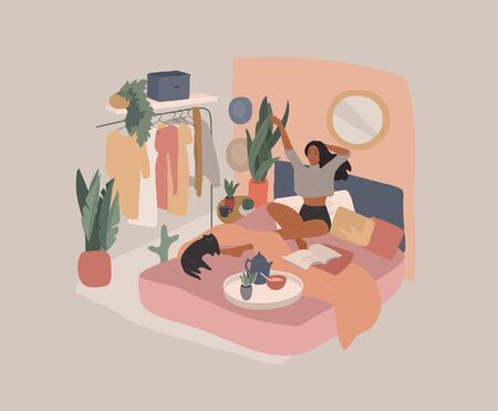 Happy cute girl have breakfast in the morning in bed, read the newspaper and resting with cat. Feminine Daily life by young woman in bedroom interior with homeplants. Cartoon vector illustration