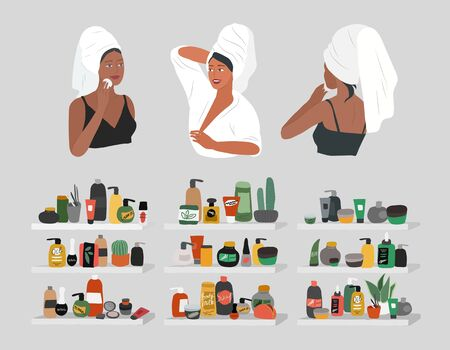 Cute girl front and back view, with towel on head, care for skin, cleanses face and makeup. Natural organic cosmetics products in bottles. Skincare routine set. Cartoon vector illustration Vektorgrafik