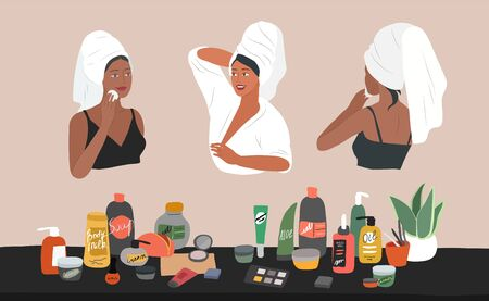 Cute girl front and back view, with towel on head, care for skin, cleanses face and makeup. Natural organic cosmetics products in bottles. Skincare routine set. Cartoon vector illustration