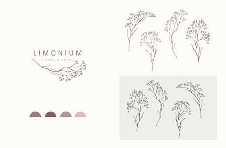 Limonium, babys breath and branch. Hand drawn wedding herb, plant and monogram with elegant leaves for invitation save the date card design. Botanical rustic trendy greenery vector illustration